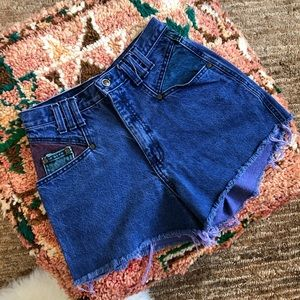 Vintage 80's Zena colorful denim cutoff shorts